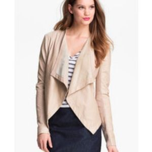 HALOGEN - NWOT Waterfall Leather Jacket - Nude